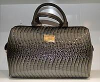 Лакированная сумка саквояж серая