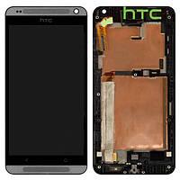 Дисплейный модуль (дисплей + сенсор) для HTC Desire 700 Dual Sim, с рамкой, серебристый, оригинал