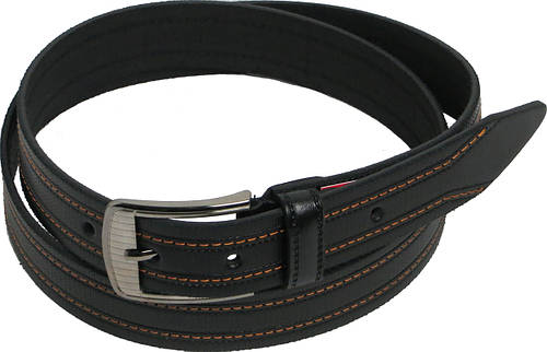 Брючный мужской кожаный ремень Skipper 5498 чёрный ДхШ: 128х3,5 см.