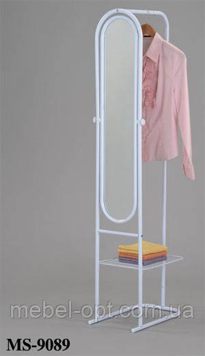 Зеркало напольное MS-9089, Зеркало со стойкой для плечиков и полочкой для сложенных вещей