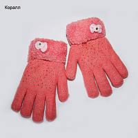 Салют перчатки. Шерсть ангора, внутри махровые. Зима. 6-9 лет. красный