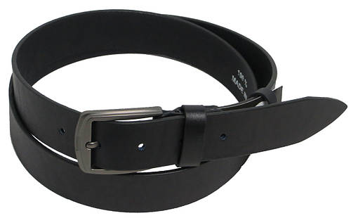 Брючный мужской кожаный ремень FLX 2624 тёмно синий ДхШ: 128х3,5 см.