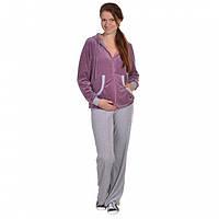 Спортивный костюм для беременных и кормящих мам велюровый с капюшоном Сиреневый, 48