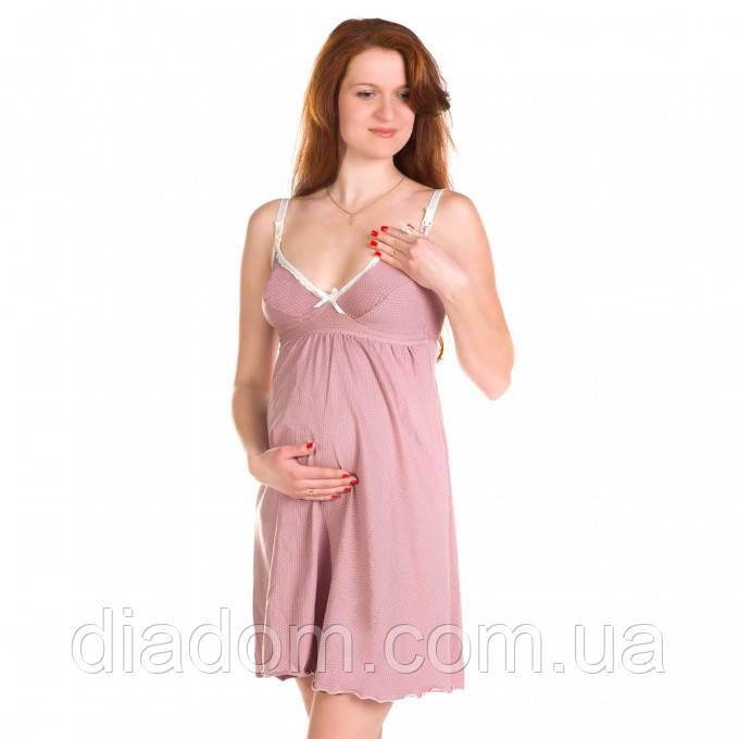 Ночная рубашка для беременных и кормящих мам со встроенным бюстом (коф., роз.)