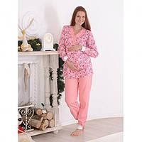 Пижама теплая для беременных и кормящих мам хлопковая