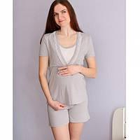 Пижама летняя хлопковая для беременных и кормящих мам Серая дымка
