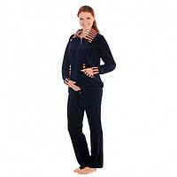 Спортивный костюм для беременных и кормящих мам велюровый (серый, т. синий)