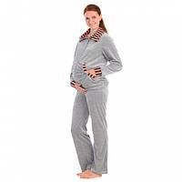 Спортивный костюм для беременных и кормящих мам велюровый, Серый, 44