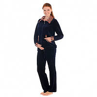 Спортивный костюм для беременных и кормящих мам велюровый, Серый, 46
