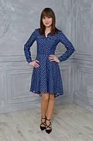 Молодежное женское платье-рубашка с шлейфом