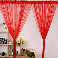 Стильная занавеска шторы-нити Кисея из люрекса красного цвета