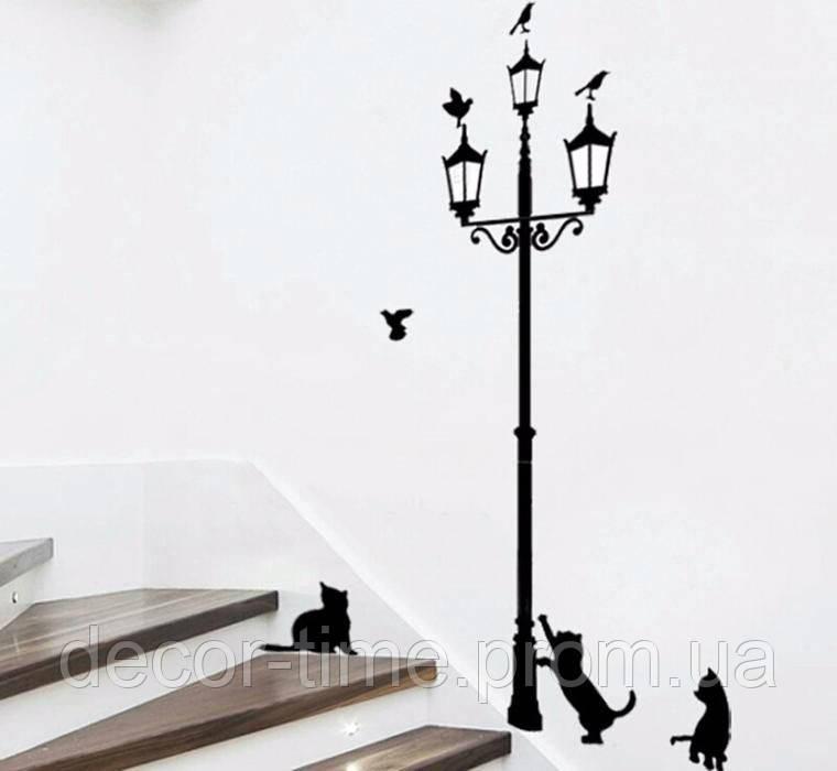 Интерьерная наклейки на стену Фонарь и котики (035611)
