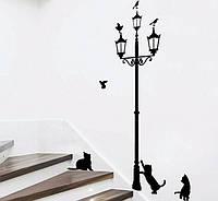 Интерьерная наклейки на стену Фонарь и котики (035611), фото 1