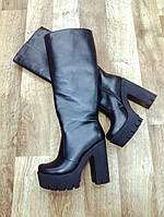 Сапоги женские на каблуке кожа