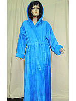 Халат женский махровый 46-56 длинный капюшон хлопок, фото 1