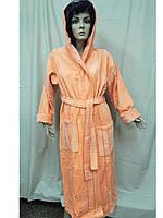 Халат женский махровый 46-56 длинный капюшон хлопок