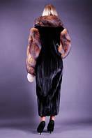 Шуба натуральная женская норковая из меха Blackglama с опушкой 233