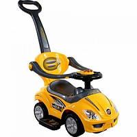 Машина для детей каталка толокар желтая с ручкой