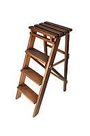 Складной стул стремянка цвет орех на 4 ступени