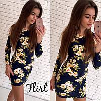Женское платье принт цвет яблони - размер 42,44,46