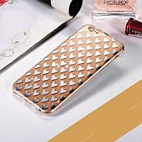 """Золотистый силиконовый чехол сердечки для Iphone 7 и Iphone 8 (4.7"""") , фото 1"""