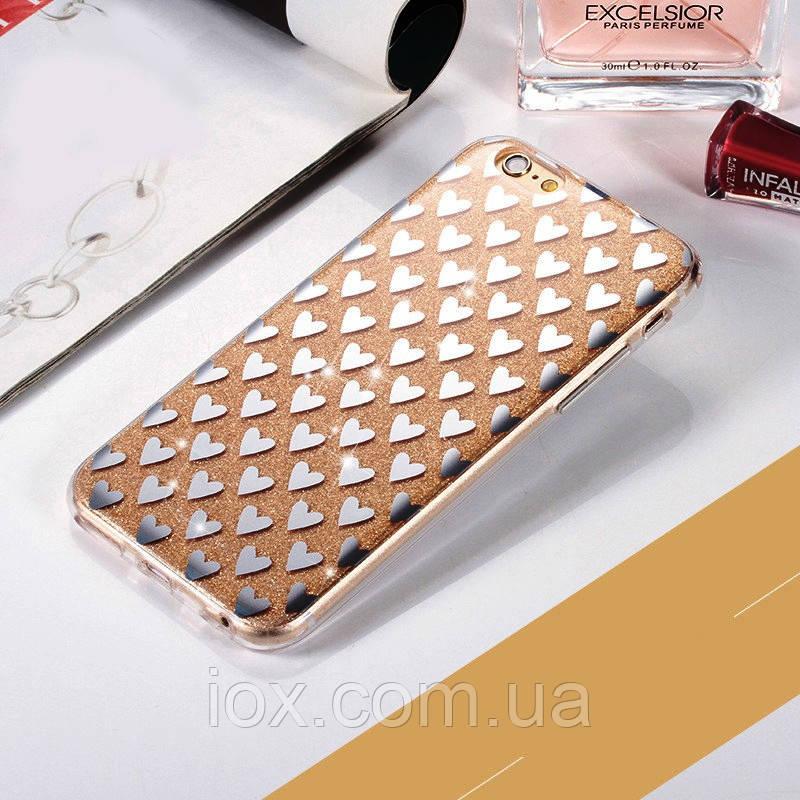 """Золотистый силиконовый чехол сердечки для Iphone 7 и Iphone 8 (4.7"""")"""