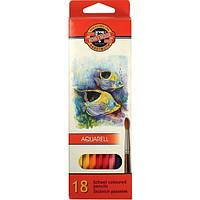 Карандаши акварельные цветные Koh-i-Noor Mondeluz Рыбки 18 цв. (2,8мм)