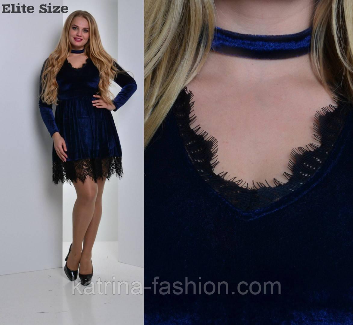 2dd62cf265f Женское стильное велюровое платье больших размеров с кружевом (2 цвета)