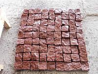 Гранитная брусчатка колотая, Лезники (розовая), 100х100х50 мм