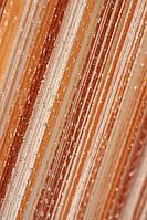 Тюль-нить Кисея радуга золотистый дождь