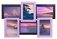 Фиолетовый коллаж на 6 фото (деревянная рамка)
