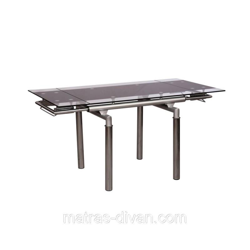 Стол обеденный раскладной D-103-S каркас хром, база стола-цвет алюминий, тонированное закаленное стекло