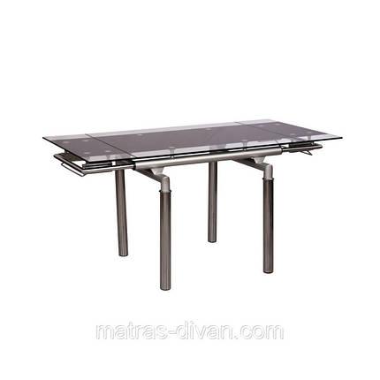 Стол обеденный раскладной D-103-S каркас хром, база стола-цвет алюминий, тонированное закаленное стекло, фото 2