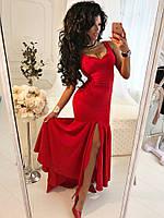 Длинное нарядное платье с свободным низом с разрезом