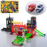 Паркинг Robot Trains ZY-642, 2 этажа, 2 машинки, дорожные знаки, подарочная коробка, 52х29х7 см