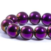 Бусины Гальваника, Фиолетовый, 12мм, 28шт/нить, УТ0031345