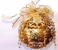 Новогодний резной шар | Золото | 25см (В наборе 6 шт.)