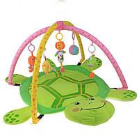 Детский коврик с игрушками в форме черепашки 898-12B, текстиль, сумка для переноски 77*58 см