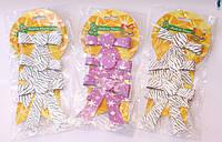 Пластиковые цветные бантики в блестках на елку   Серебро   Золото   Малиновый в упаковке 24 шт.