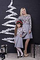 Стильное платье  для девочки светло-серое