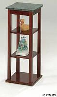 Підставка для квітів SR-0483-WG, дерев'яна етажерка з мармуровою стільницею
