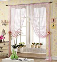 Однотонные шторы-нити с люрексной нитью бледно-розового цвета