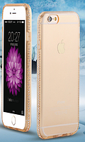 Силиконовый золотой чехол с камнями Сваровски для Iphone 5 5S