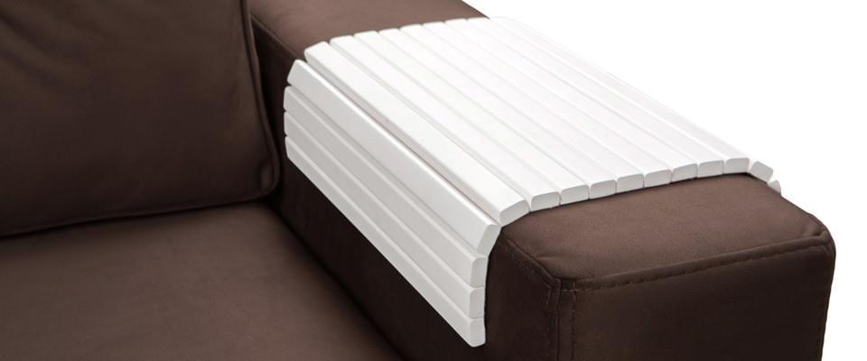 Столик-накладка на подлокотник дивана белый