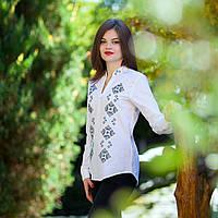 Вышитая рубашка женская белая с синей вышивкой. Длинный рукав . Разм. S - XXL. Davanti .