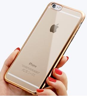 Силиконовый чехол c золотыми ободами iphone 6 6S