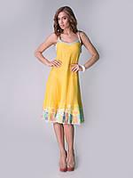 Желтый сарафан IVKO Woman из хлопка с цветочным подолом