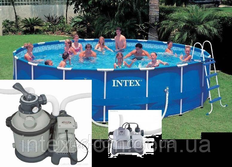 Каркасный бассейн Metal Frame 4,57х1,22м Intex 54946/28236 (Intex 28236)+28644+54602