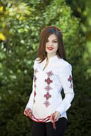 Вышитая рубашка женская белая с красной вышивкой. Длинный рукав . Разм. XXL. Davanti .