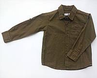Рубашка для мальчика с длинным рукавом цвета хаки